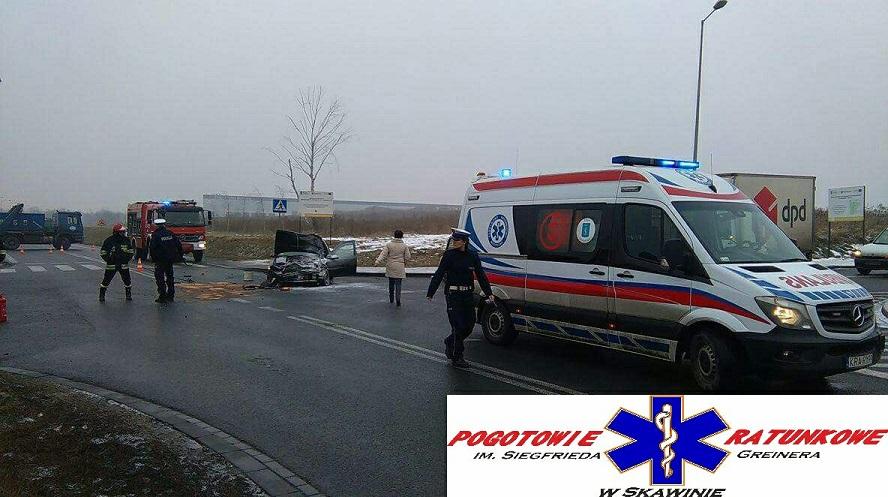 Wypadek na obwodnicy Skawiny